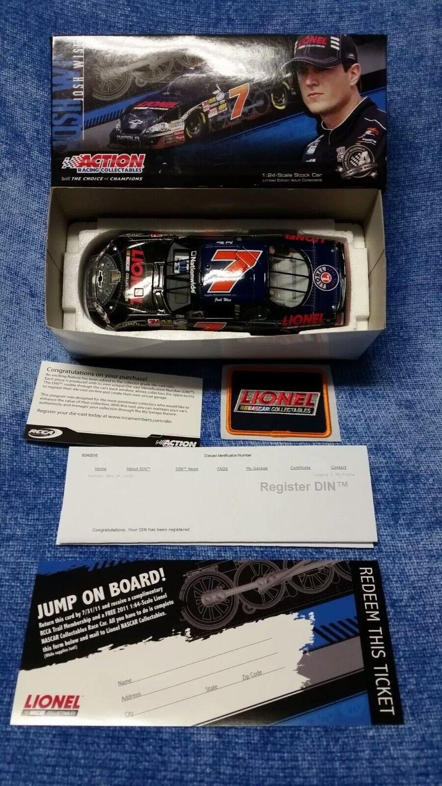 JOSH WISE LIONEL NASCAR 2011 IMPALA 1 24 DIECAST RACE CAR +