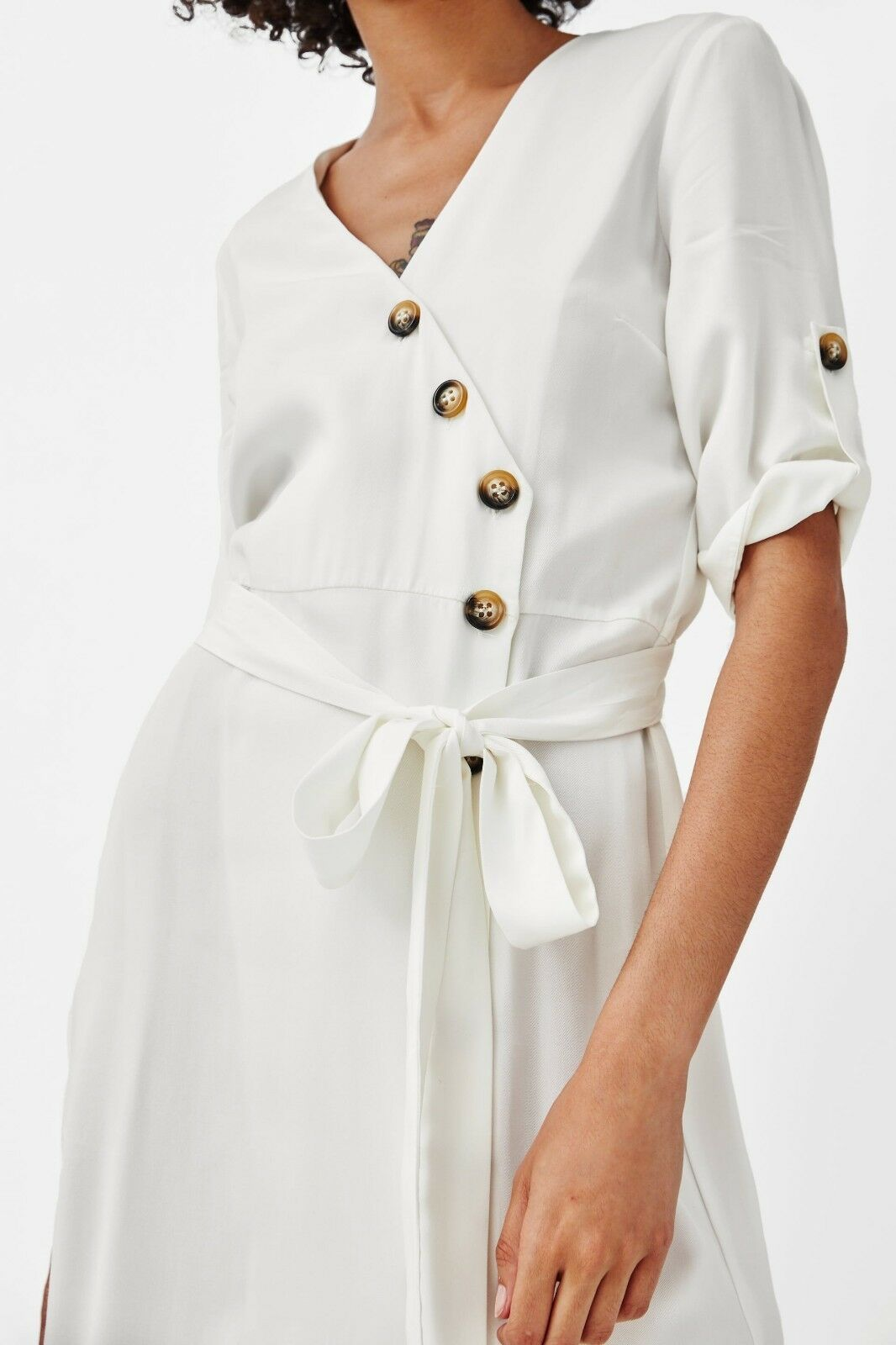 Zara lyocell lyocell lyocell midikleid abito Bottoni MIDI BELTED shirt dress with buttons Dimensione L c222be