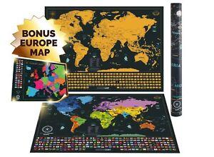Carte-de-la-Monde-Scratch-avec-Etats-pour-USA-et-Drapeaux-Voyage-Aventure