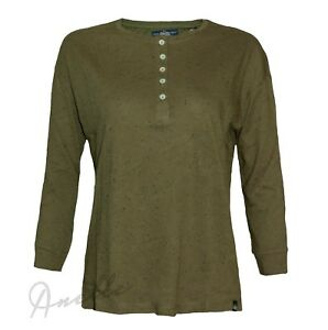 SUPERDRY-New-Womens-Top-Henley-Oversized-Buttons-Neck-Beatnik-Neppy-T-Shirt-BNWT