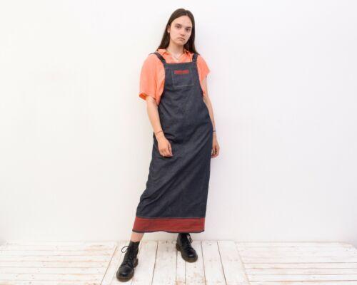 Women's L Denim Dungaree Long Sarafan Dress Summe… - image 1