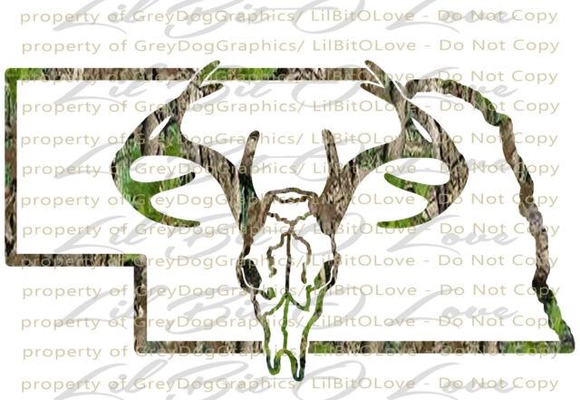 Camouflage Camo Nebraska Buck Skull Deer Hunting Vinyl Decal Hunt Sticker