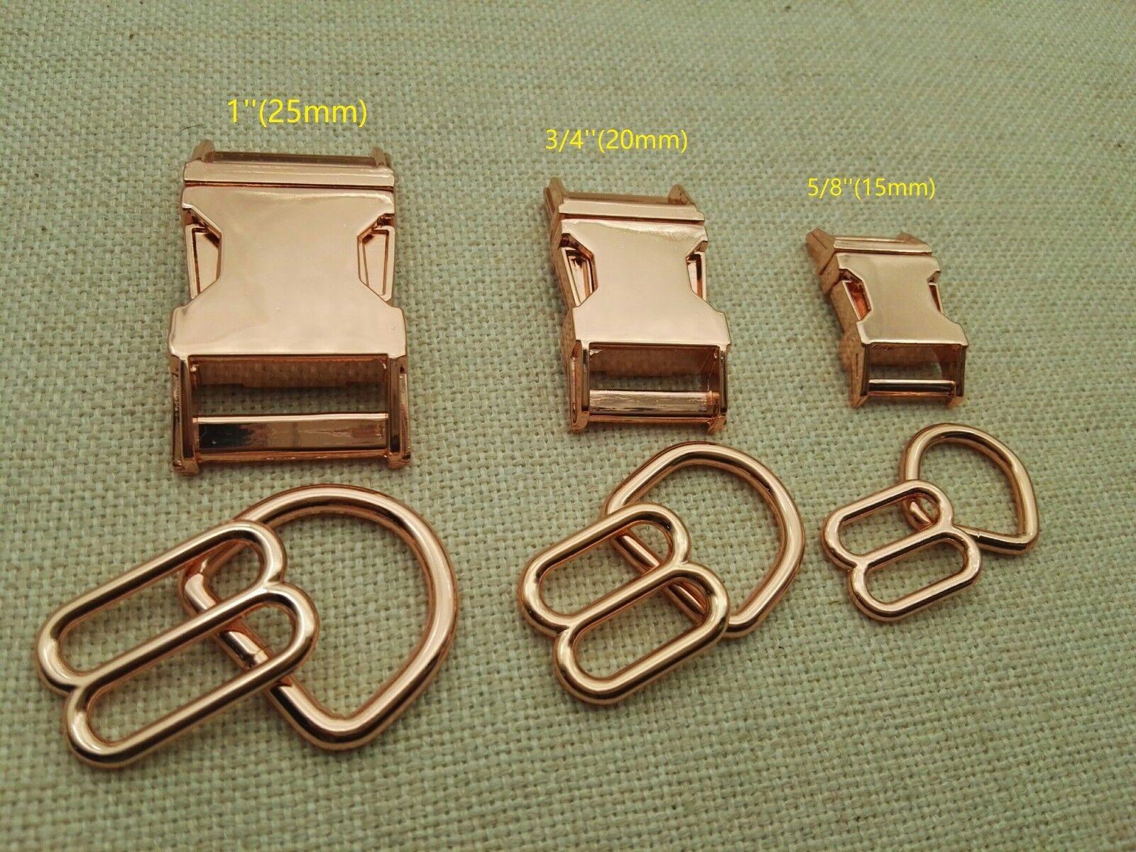25 Sets, Dog Collar Hardware Kits-Metal buckle sets, rosa oro colore, 3 Dimensiones