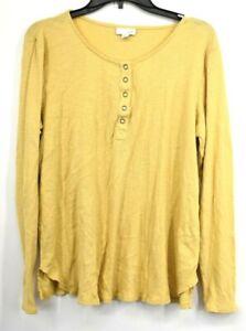 J-Jill-Womens-Yellow-Snap-Scoop-Neck-Long-Sleeve-Cotton-Split-Hem-Size-Large