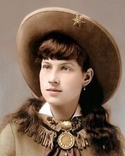 "ANNIE OAKLEY OLD WEST SUPERSTAR SHARPSHOOTER 8x10"" HAND COLOR TINTED PHOTOGRAPH"