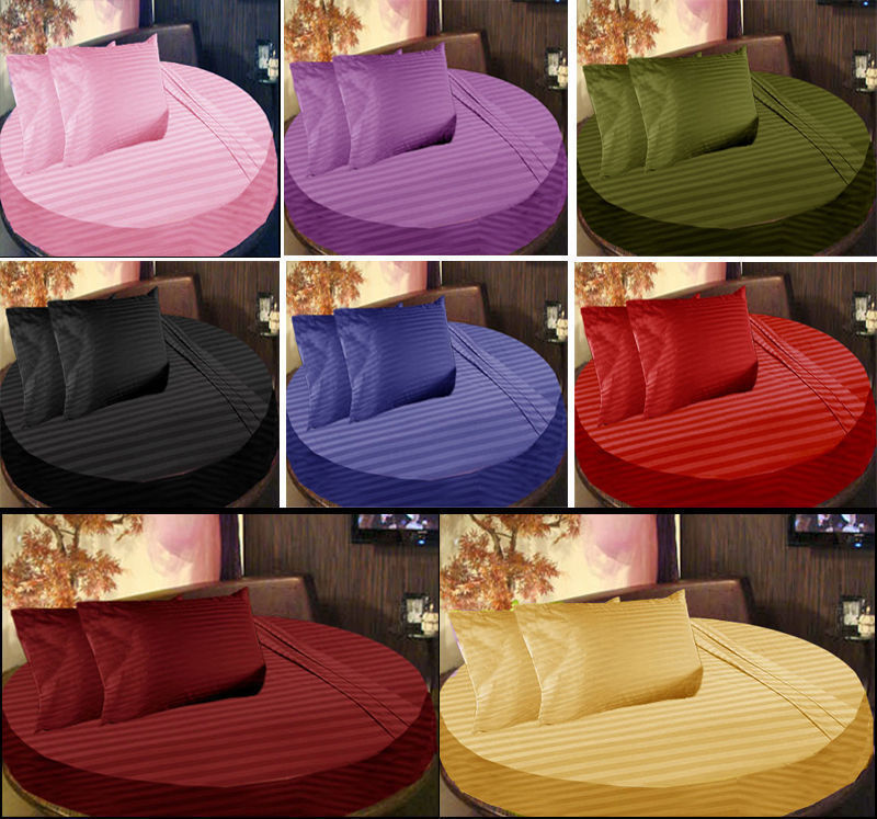 4 PC Round Bed Sheet Set 1000 Thread Count Egyptian Cotton Stripe colors