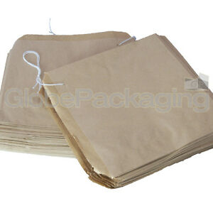 "100 x Brown Strung Kraft Paper Food Bags - 10"" x 10"" 5055502310527"