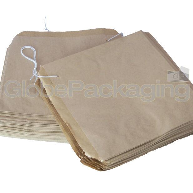 "100 x Brown Strung Kraft Paper Food Bags - 10"" x 10"""