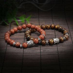 Handmade-Men-Women-039-s-Lava-Rock-Beads-Buddha-Head-Bangle-Bracelet-Jewelry-Gift