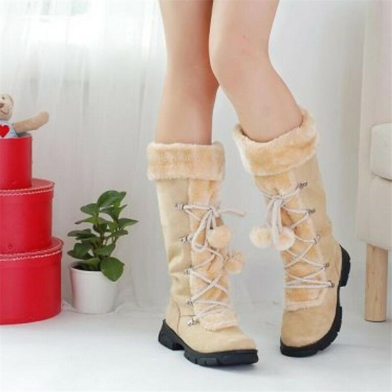 Women's Flat Casual Lace Up Pom Pom Faux Fur Warm Winter Snow Mid Calf Boots