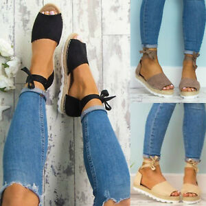 Womens-Ankle-Strap-Low-Flat-Wedge-Espadrilles-Sandals-Summer-Casual-Beach-Shoes