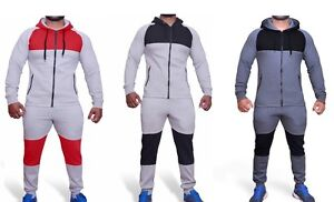 NEW-MENS-TRACKSUIT-SET-FLEECE-HOODIE-TOP-BOTTOMS-JOGGING-JOGGERS-GYM-CONTRAST