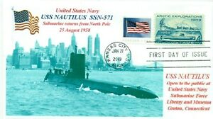 Uss-Nautilus-SSN-571-Sottomarino-New-York-City-1958-Foto-Primo-Day-Of-Issue-Pm