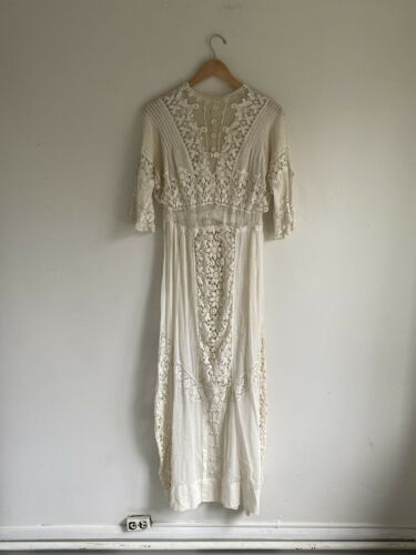 Vintage Antique Edwardian White Cotton Lace Dress