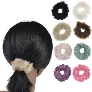 Image is loading Faux-Fur-Hair-Scrunchie-Ponytail-Elastic-Scrunchies-Girl- 037110922cf