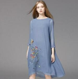 Women-100-Silk-Embroidery-Charm-3-4-Sleeves-Loose-Shirt-Dress-Chic-Tops-Leisure