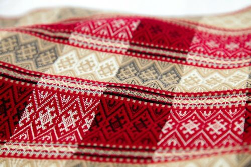 Cover Ukrainian party ornament Decor Wedding PLAKHTA Gray Red Beige Покрывало