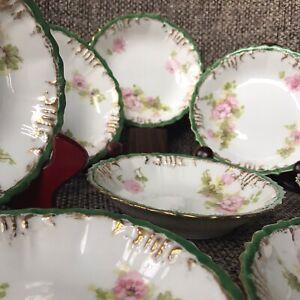 8-Antique-Limoges-6-Bowls-Pink-Roses-Gold-Green-Rim-c-1890-1910-AK-CD-Red-Stamp