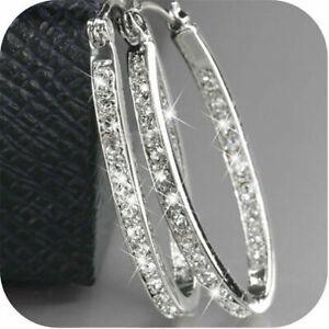Fashion-Women-039-s-Gold-Plated-Silver-Crystal-Big-Hoop-Huggie-Earrings-Wedding-Gift