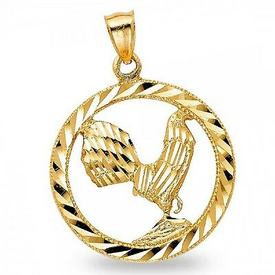 14k Yellow Gold Rooster Pendant Chinese Zodiac Charm Medal Diamond Cut Polished