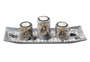 Dekoschale-rechteckig-mit-3-Kerzenhalter-aus-Holz-grau-und-Steindekoration