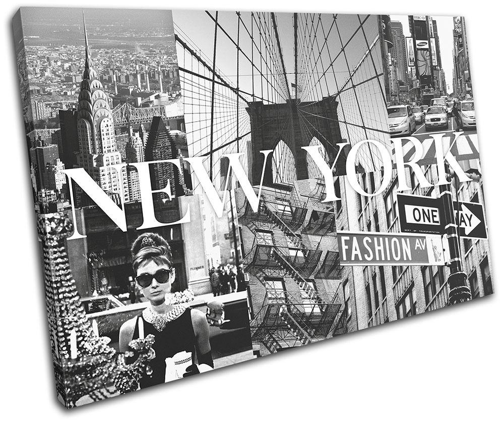 New York Fashion City Typography SINGLE Leinwand Wand Kunst Bild drucken