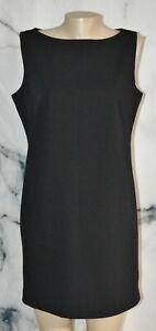 LIZ CLAIBORNE PETITE Black Sleeveless Dress 12P Lined Stretch Polyester Blend