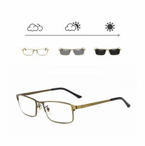 da679cd3b8b Mens Transition Photochromic Reading Glasses Business Readers Metal ...