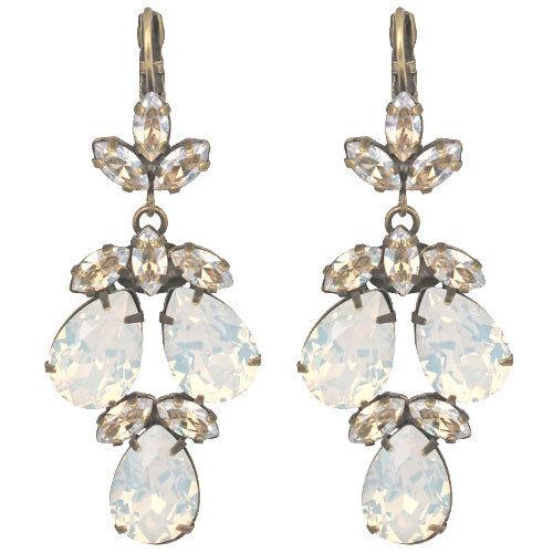 Kirks Folly Fairy Godmother's Jubilee Teardrop Chandelier Earrings-White Opal