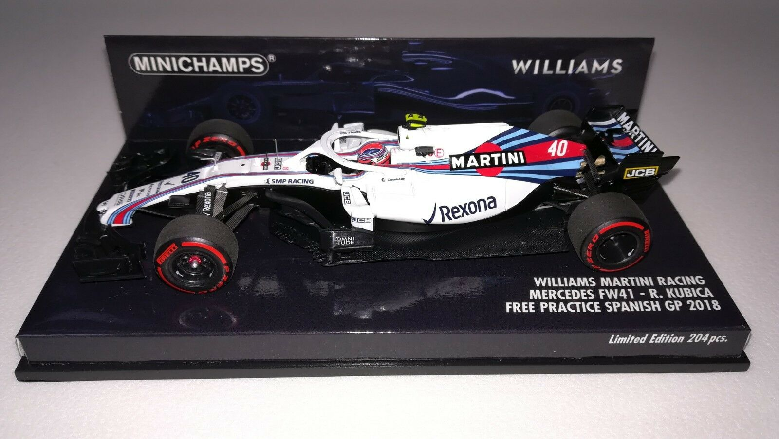 Minichamps F1 Williams FW41 Robert Kubica 1 43 Free Practice Spanish GP 2018