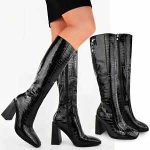 Womens Black Croc Knee High Boots Smart