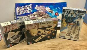 NOS-Lot-4-Vintage-STAR-WARS-Models-R2-D2-X-Wing-STAR-DESTROYER-TIE-INTERCEPTOR