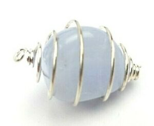10 x Blue Lace Agate GEMSTONE JEWELLERY Silver Plated Spirals WHOLESALE Reiki