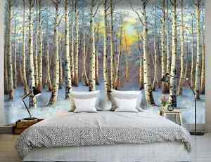 3D Schnee, Wald 744 Fototapeten Wandbild Fototapete BildTapete Familie