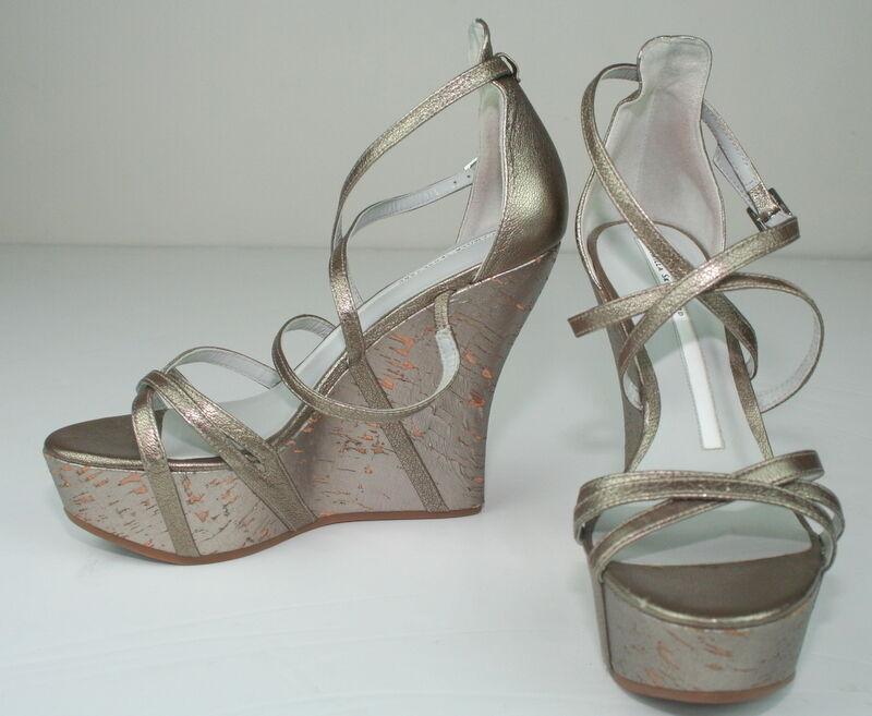 Camilla Skovgaard Pewter Cork Platform Wedge Heels Strappy Sandals shoes 37 7