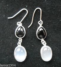 Hallmarked Sterling Silver Sri Lankan Moonstone Onyx Drop Earrings (E20/5) (NEW)