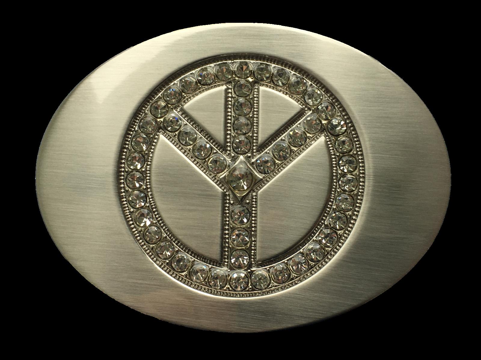 Belt Buckle Peace Symbol Silver with Diamante Inlay 40mm Biker Cowboy Western