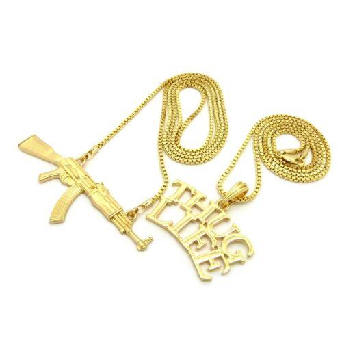 "Hip Hop Rapper/'s Swag Thug Life Gun Pendant w// 24/"",30/"" Box Chain 2 Necklace Set"