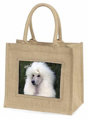 Weißer Pudel Hund große natürliche jute-einkaufstasche Weihnachten Geschenkidee,