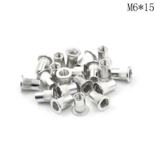 20Pcs Aluminum Alloy Flat Head Threaded Rivet Insert Nutsert Cap Rivet Nut#/%