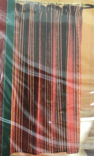 Waverly Home Fabric Shower Curtain Red Gold Stripe Velvet Velour NEW