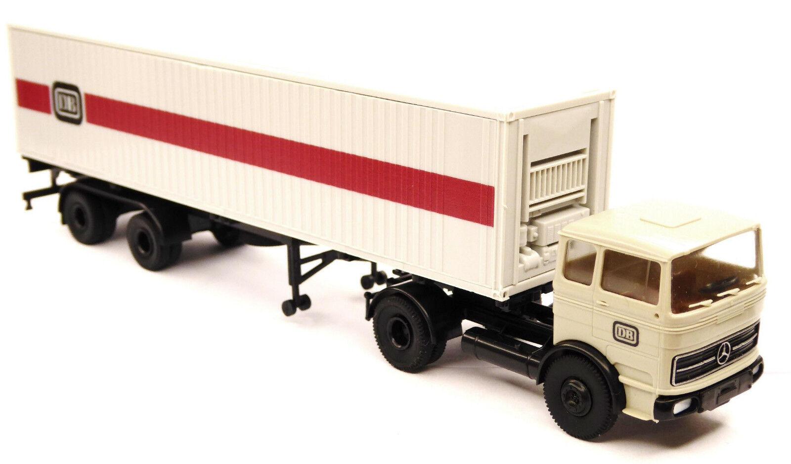 H0 BREKINA Mercedes Benz MB LPS 1620 Sattelzug mit 40 ft Container DB