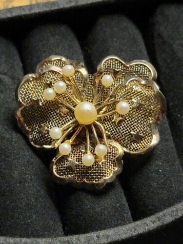 Vintage Sterling Silver 925 Flower Pearl Brooch Pi