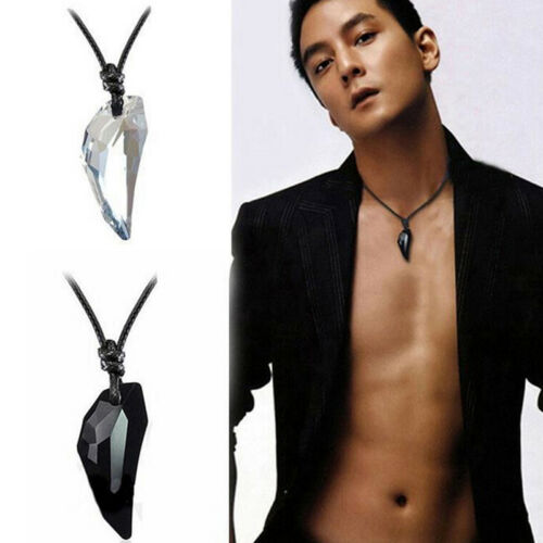 Women Men/'s  Wolf/'s Tooth Necklace Crystal Natural Stone Pendant Jewelry Gift~GQ