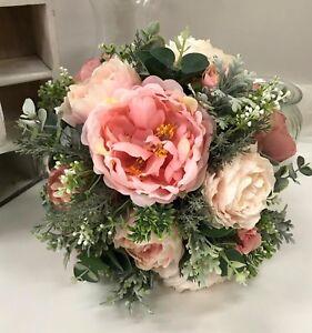 Silk wedding bouquet dusty pink peony roses peonies rustic flowers image is loading silk wedding bouquet dusty pink peony roses peonies mightylinksfo