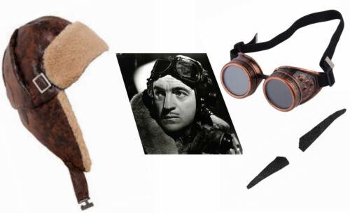 1930s 1940s Golden Oldies Film Star Pilot Aviator Flying Cap Hat Goggles Tash