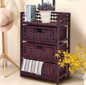 Merveilleux Image Is Loading 3 Drawer Storage Chest Wicker Baskets Bin Organizer