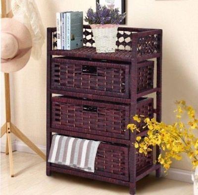 Ordinaire 3 Drawer Storage Chest Wicker Baskets Bin Organizer Kitchen Bathroom Home  Stand 600169130695 | EBay