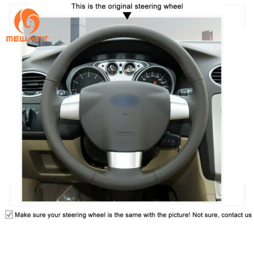Custom Soft Suede Leather Steering Wheel Cover Wrap for Ford Focus 2 2005-2011