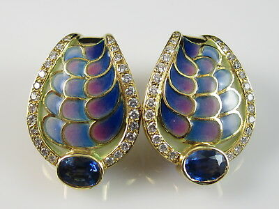 18K Sapphire Diamond Earrings Plique-a-jour Yellow Gold Fine Omega Back $4250